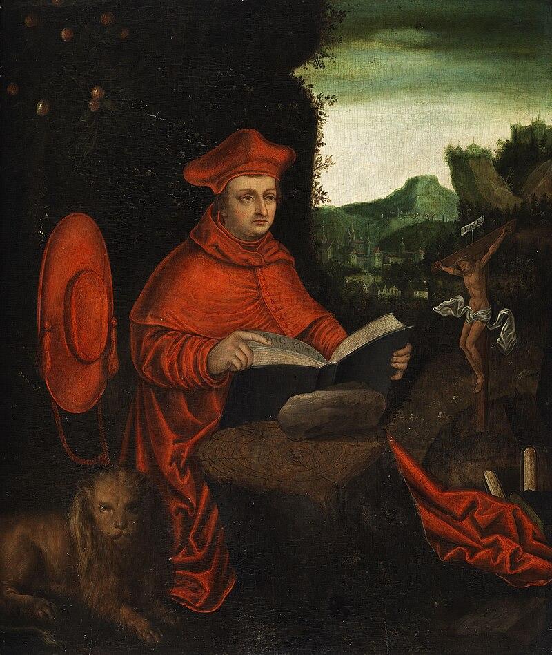 Nachfolger des Lucas Cranach d.Ä. - Kardinal Albrecht von Brandenburg als Kirchenvater Hieronymus.jpg