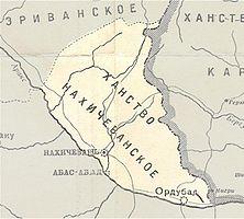 Ордубад в составеНахичеванского ханствана карте1902 года