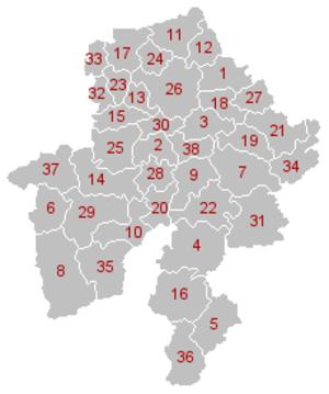 Namur (province) - Municipal divisions of Namur (click on image for full legend).