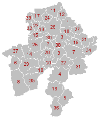 Namur (province) - Municipal divisions of Namur (click on image for full legend).