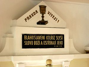 Czechs in Poland - Czech inscription in Zelów's Polish Reformed Church.
