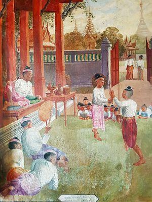 Krabi–krabong - Mural painting: Naresuan's krabi-krabong (right) with Mingyi Swa.