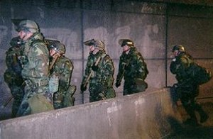 1999 Seattle WTO protests - National Guardsmen marching to their next assignment
