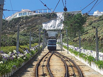 Nazaré Funicular - A view of one of the modern cars descending from the tunnel