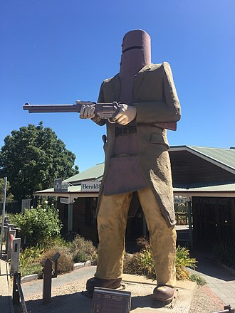Glenrowan, Victoria - Statue of Ned Kelly on the main street of Glenrowan