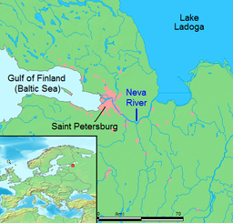 Location of the Neva River