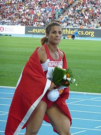Nevin Yanıt Baltacı - Yanit in 2010 with Turkey flag, at her 1st European title.