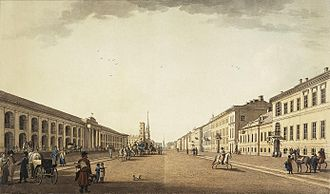 Nevsky Prospect - The avenue near the Gostiny Dvor, 1799 by Benjamin Patersen.