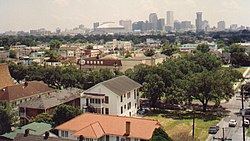 A view across Uptown New Orleans, with the Central Business District in the background (1991).