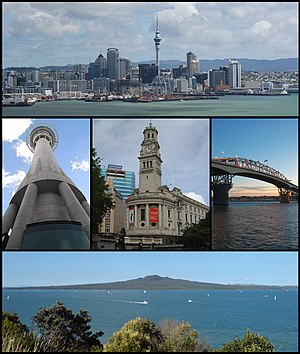 From upper left: Skyline of Auckland CBD, Sky Tower, Town Hall, Auckland Harbour Bridge, Rangitoto Island