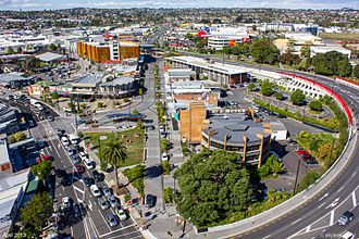 New Lynn - Aerial view of New Lynn town centre in 2013