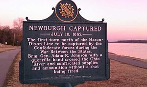 Newburgh, Indiana - Historical marker about the Newburgh Raid