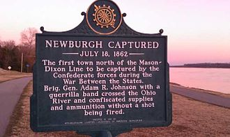 Newburgh Raid - Historical marker by the Ohio River near where the Newburgh Raid occurred