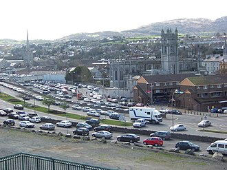 Newry - Looking southwest over Newry, with Newry Cathedral in the centre of the picture