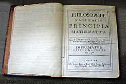 The first edition of Newton's Principia, bearing Pepys' name.