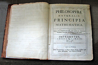 Newton's own copy of his Principia, with hand-written corrections for the second edition, in the Wren Library at Trinity College, Cambridge. NewtonsPrincipia.jpg
