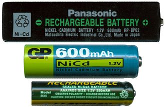 Nickel–cadmium battery - Image: Ni Cd various