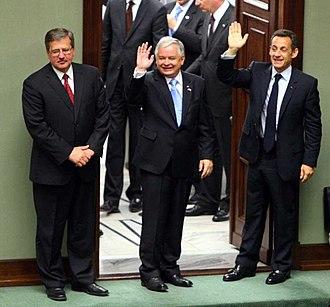 Bronisław Komorowski - Bronisław Komorowski with Lech Kaczyński and Nicolas Sarkozy