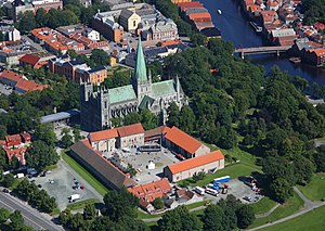 Archbishop's Palace, Trondheim - Aerial view of the palace