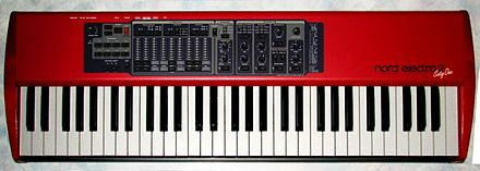 The Nord Electro emulated drawbars using buttons and a light-emitting diode display Nord Electro2 61keys.jpg