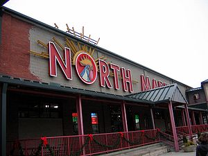 North Market - The east entrance to the North Market features its distinctive rooster and sunbeam logo.