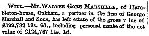 Hambleton Hall - Notice about Walter Marshall's estate