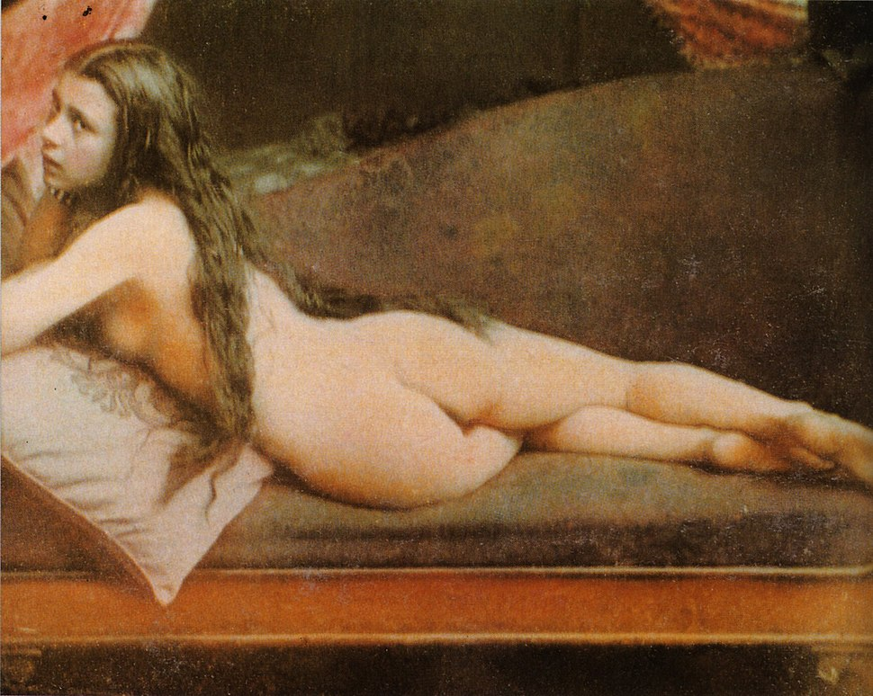 Nude woman in colored daguerreotype by Félix-Jacques Moulin
