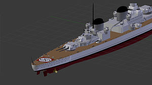 O-class battlecruiser - The stern and amidships portion of the O class