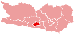 Location of Villach within Carinthia