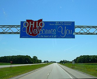 Ohio - Ohio state welcome sign, in an older (1990s) style