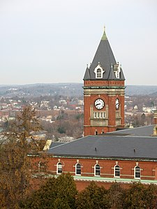 O'Kane Hall and clock tower, view from northern end of campus.