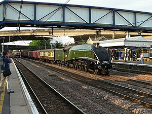 Huntingdon railway station - Image: On The Fast (line) geograph.org.uk 1421183