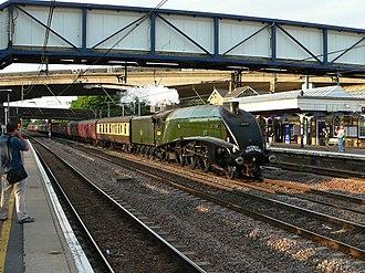 Huntingdon railway station - Image: On The Fast (line) geograph.org.uk 1421183
