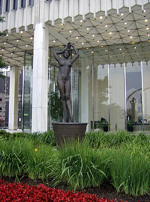Giacomo Manzù - Passo di Danza, Giacomo Manzù's eleven foot bronze sculpture, modeled on his wife, in Detroit near Woodward Avenue and Fort Street