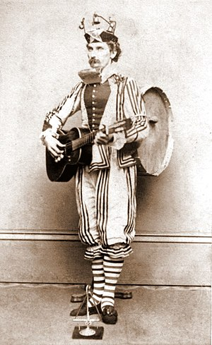 One man band dressed as a jester. CDV by Knox ...
