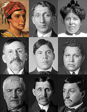 Collage of Oneida Native Americans from public...