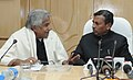 Oommen Chandy meeting the Minister of State for Railways, Shri K.H. Muniyappa, to submit the pre Budget Memorandum and discuss railway issues pertaining to the State of Kerala, in New Delhi on February 09, 2012 (1).jpg