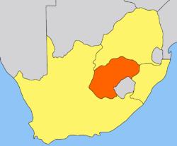 Geografisk placering af Oranjefristaten
