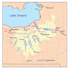Map. The eastern half of Lake Ontario runs across the top half of the map. The bottom half shows several slender lakes running north-south; these are the Finger Lakes. Oneida Lake and Wood Creek are to the east of the Finger Lakes, near the map's center. The map indicates numerous rivers flowing out of the Finger Lakes, out of Oneida Lake, and from other sources. These waters flow into Lake Ontario at Oswego.