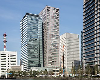 The Nikkei - Nikkei headquarters on the left in Ōtemachi, Chiyoda, Tokyo