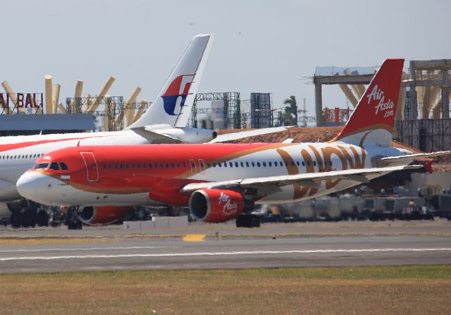 Two Malaysian carriers at Bali Airport, while expension work is in progress