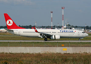 Turkish Airlines Flight 1951 - TC-JGE, the aircraft involved, landing at Kiev-Boryspil Airport in January 2009
