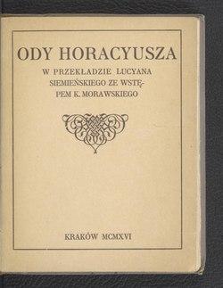 Ody Horacyusza Tłum Siemieńskicałość Wikiźródła Wolna