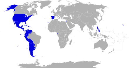 Countries members of the ASALE. Paises con academia de la lengua espanola.png