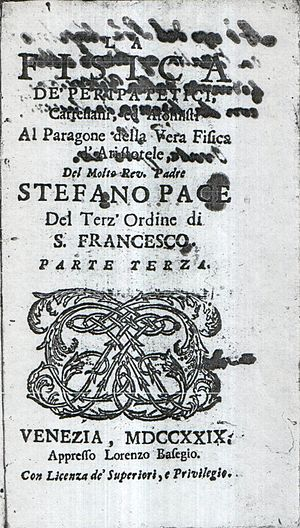 Stefano Pace - Frontispiece of Stephen Pace's third volume of philosophy