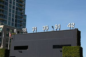 San Diego Padres retired numbers - Retired numbers were displayed atop the batter's eye at Petco Park until 2016