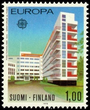 Sanatorium - Postage stamp depicting the Paimio tuberculosis sanatorium, Finland, by Alvar Aalto