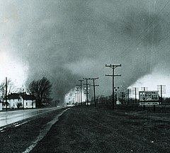 "Picture of the ""double tornado"" that hit the Midway Trailer Park in Indiana, killing 14."