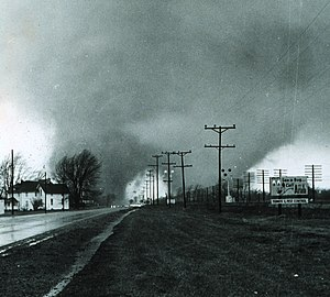 "1965 Palm Sunday tornado outbreak - Picture of the ""double tornado"" that hit the Midway Trailer Park in Indiana, killing 14."