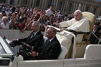The ailing Pope John Paul II riding in the Popemobile on September 22, 2004